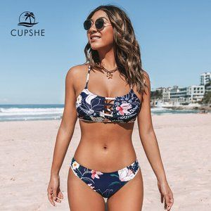NAVY FLORAL CUTOUT BUTTON FRONT BIKINI SMALL NEW
